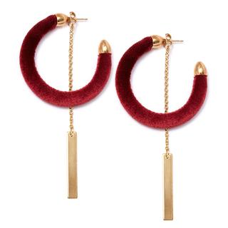 Серьги Herald Percy Бордовые велюровые серьги-полукольца серьги herald percy серьги с красными подвесками