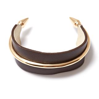 Браслеты Herald Percy Коричневый кожаный браслет с металлическими элементами браслеты herald percy браслет цепочка со звездами