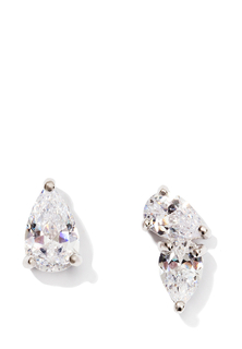 Серьги Exclaim Ассиметричные серьги-пуссеты с  цирконом алмазной огранки