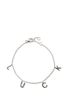 Браслеты Exclaim Серебряный браслет-цепь с подвесками в форме букв Luck exclaim серебряный браслет цепочка с подвесками