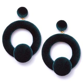 Серьги Herald Percy Темно-зеленые велюровые серьги-кольца серьги herald percy кафф цепочка тройной