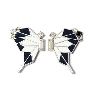 Серьги Nuance Бело-черные серьги-бабочки с кристаллами moon paris серьги с кристаллами и с гематитом с серебрением mok 1607 061