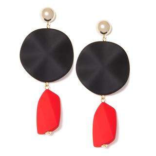 Серьги Aloud Черные серьги-диски с красными подвесками серьги с подвесками jv серебряные серьги с ониксами куб циркониями и позолотой or 3644 a ox 001 pink
