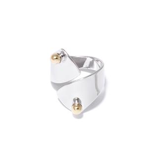 Кольца Aqua Серебряное незамкнутое кольцо с золотыми шариками (Размер U) женские кольца jv женское серебряное кольцо с куб циркониями f 642r 001 wg 17 5
