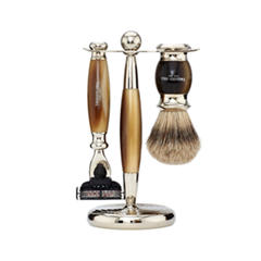 Для бритья - Набор Edwardian Set Faux Horn: Badger Brush Mach III Razor Stand